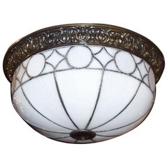 Set of Leaded Glass Light Fixtures, Sold Individually