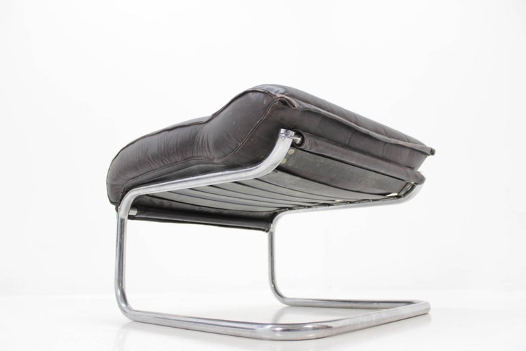Mid-20th Century Set of Leather Design Lounge Chair and Footstool For Sale