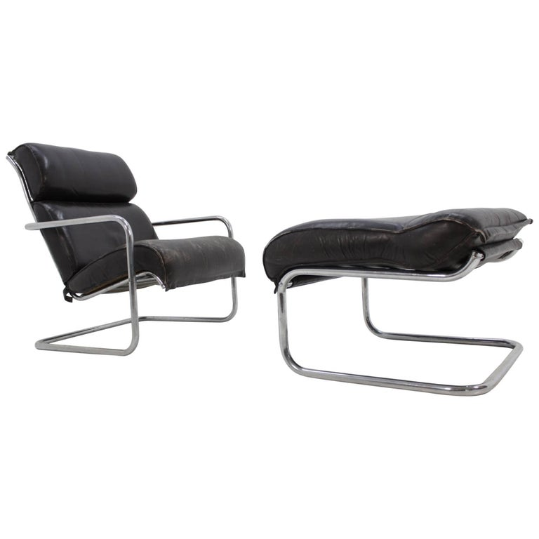 Set of Leather Design Lounge Chair and Footstool For Sale