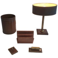 Set of Leather Lamp, Basket, Paper Holder, Diary and Pen Holder, circa 1970