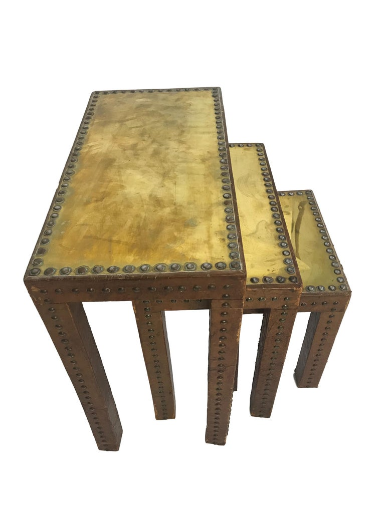 Set Of Leather Wrapped Nesting Tables With Brass Tops And