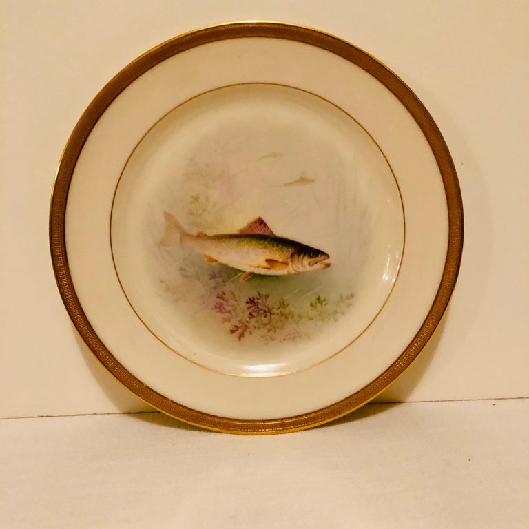 Set of Lenox Fish Plates Each Painted with Different Fish Artist Signed Morley For Sale 2