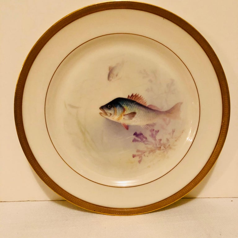 Set of Lenox Fish Plates Each Painted with Different Fish Artist Signed Morley For Sale 3