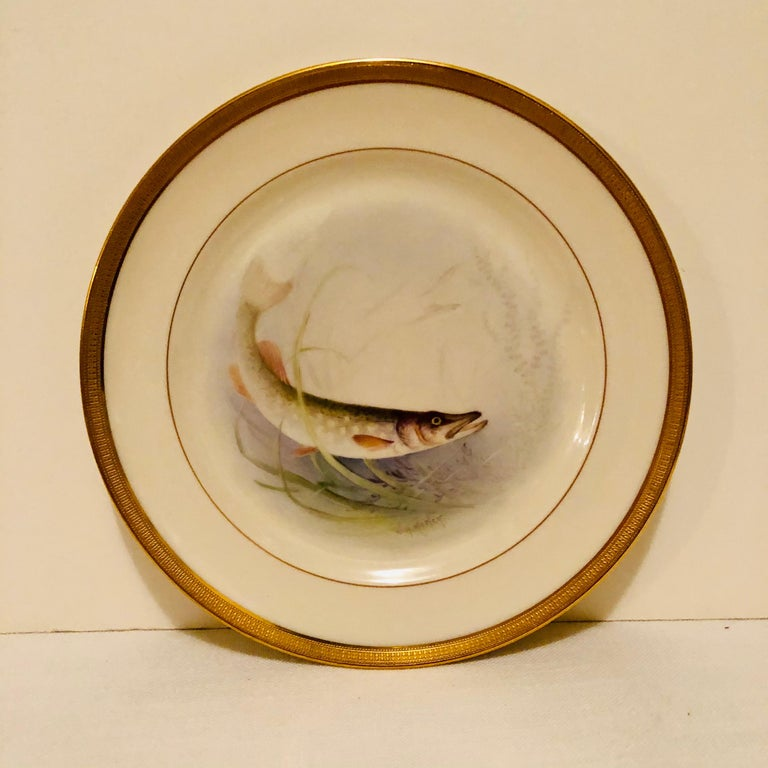 Set of Lenox Fish Plates Each Painted with Different Fish Artist Signed Morley For Sale 4