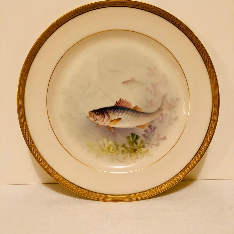 Set of Lenox Fish Plates Each Painted with Different Fish Artist Signed Morley For Sale 5