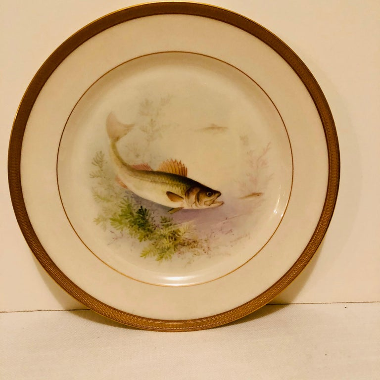 Set of Lenox Fish Plates Each Painted with Different Fish Artist Signed Morley For Sale 6
