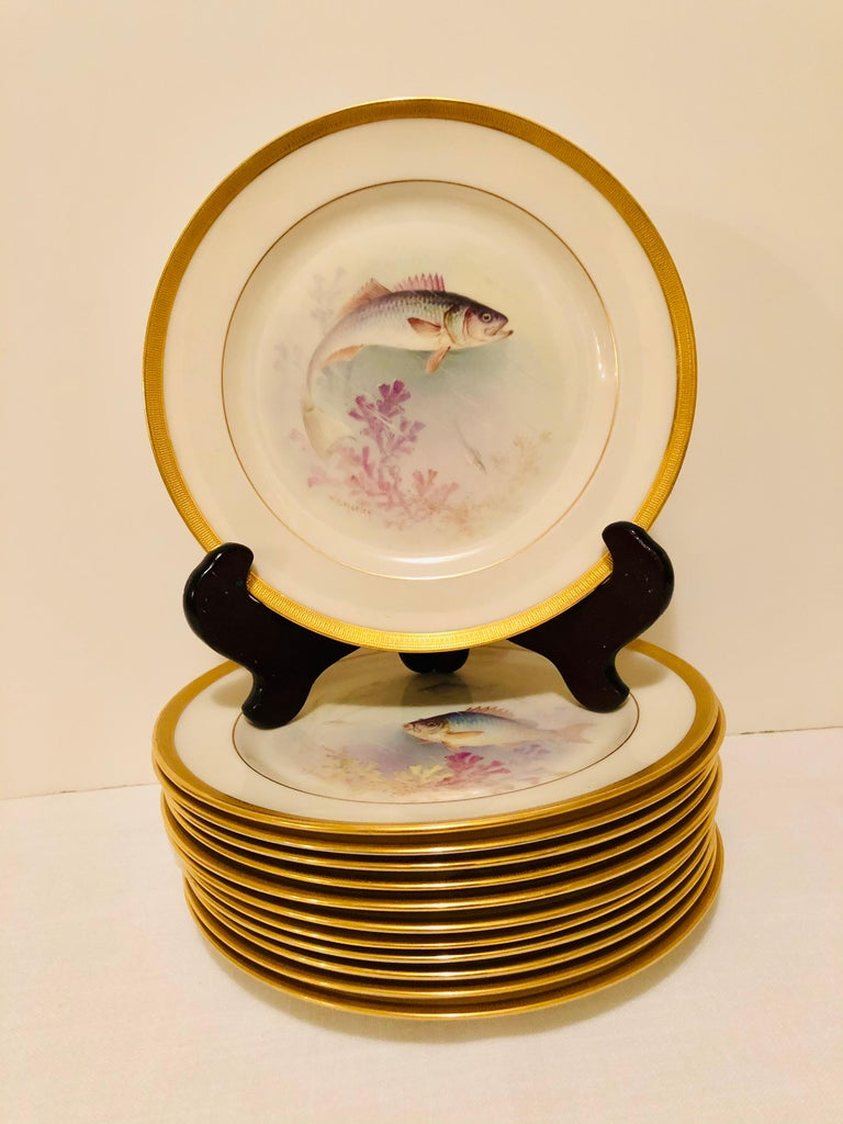 I am offering you this outstanding set of twelve antique Lenox fish plates, each painted with different fish artist signed W. H. Morley. Morley was one of Lenox's most talented artists. He specialized in painting roses, orchids, birds and fish. Each