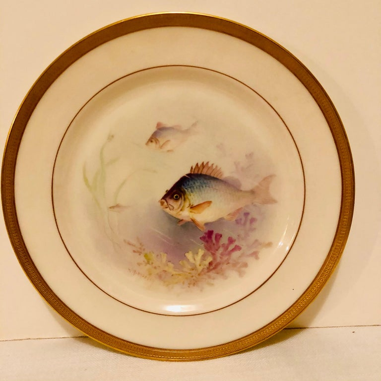 Other Set of Lenox Fish Plates Each Painted with Different Fish Artist Signed Morley For Sale