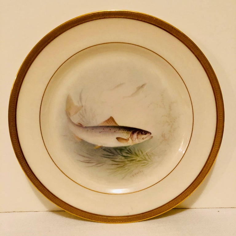 Hand-Painted Set of Lenox Fish Plates Each Painted with Different Fish Artist Signed Morley For Sale