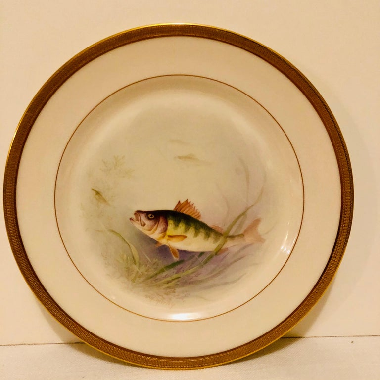 Set of Lenox Fish Plates Each Painted with Different Fish Artist Signed Morley In Good Condition For Sale In Boston, MA