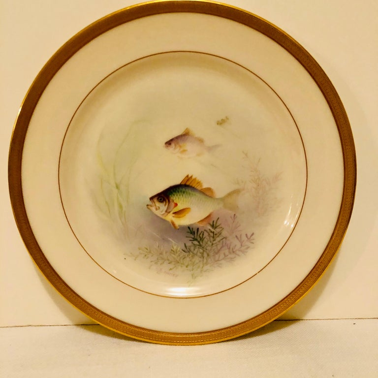 Early 20th Century Set of Lenox Fish Plates Each Painted with Different Fish Artist Signed Morley For Sale
