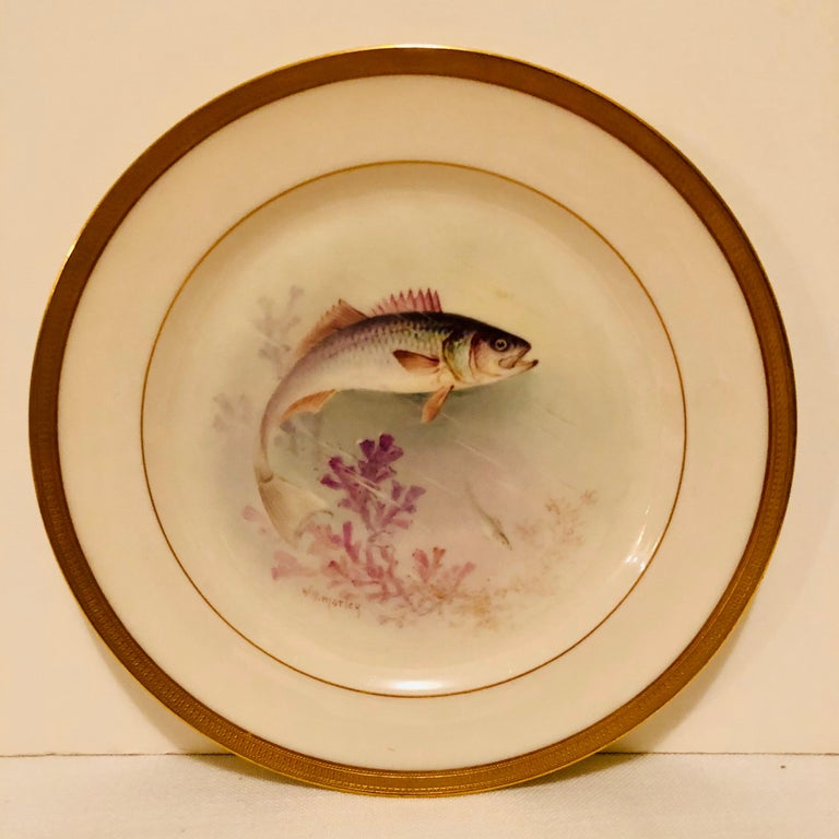 Porcelain Set of Lenox Fish Plates Each Painted with Different Fish Artist Signed Morley For Sale
