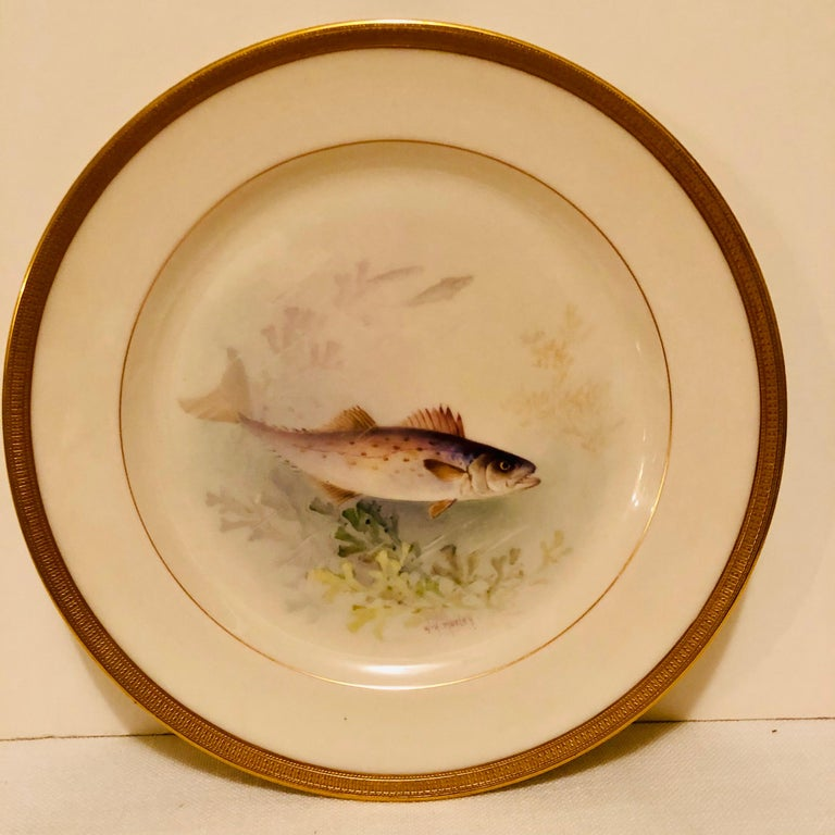 Set of Lenox Fish Plates Each Painted with Different Fish Artist Signed Morley For Sale 1