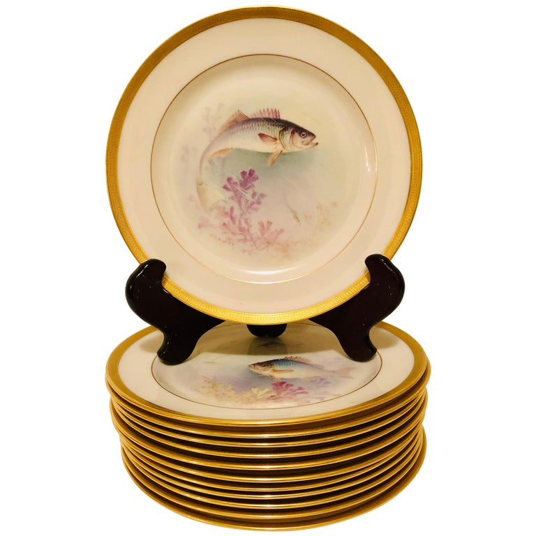 Set of Lenox Fish Plates Each Painted with Different Fish Artist Signed Morley For Sale
