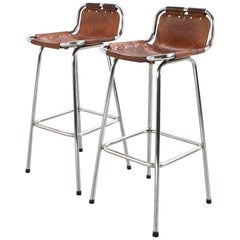 Set of Les Arcs Stool in Camel Colored Leather, Mid-Century Modern French, 1960s