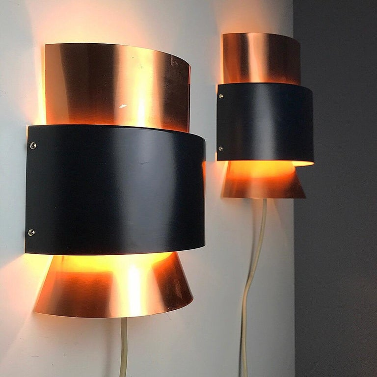 Set of Limited Copper Wall Lights by Fog & Mørup, Denmark, 1960s For Sale 2