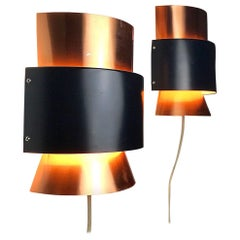 Set of Limited Copper Wall Lights by Fog & Mørup, Denmark, 1960s