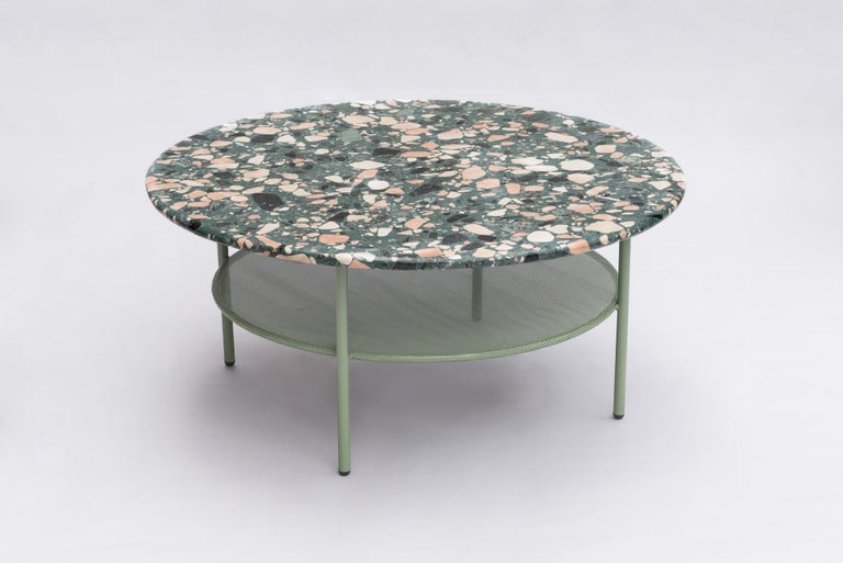 Powder-Coated Set of Lira Coffee Tables, Terrazzo top, Contemporary Mexican Design For Sale