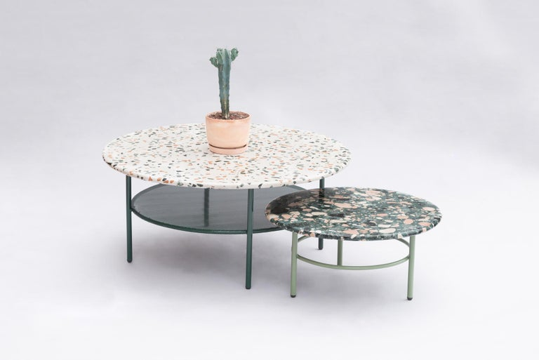 This fresh and colorful coffee tables are ideal for outdoors although they combine perfectly with modern and fresh interiors as well. Their Terrazzo top is a mixture of colored cement and marble stones. There are two versions of Terrazzo that can be