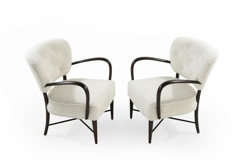 Mid-Century Modern Set of Lounge Chairs in Bouclé, Italy, circa 1950s For Sale