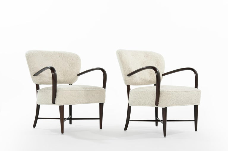 Set of Lounge Chairs in Bouclé, Italy, circa 1950s For Sale 1