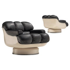 Set of Lounge Chairs in Fiberglass and Black Leatherette, France, 1970s