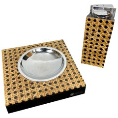 Set of Lucite and Wicker Table Lighter and Ashtray by Felice Antonio Botta 1970s