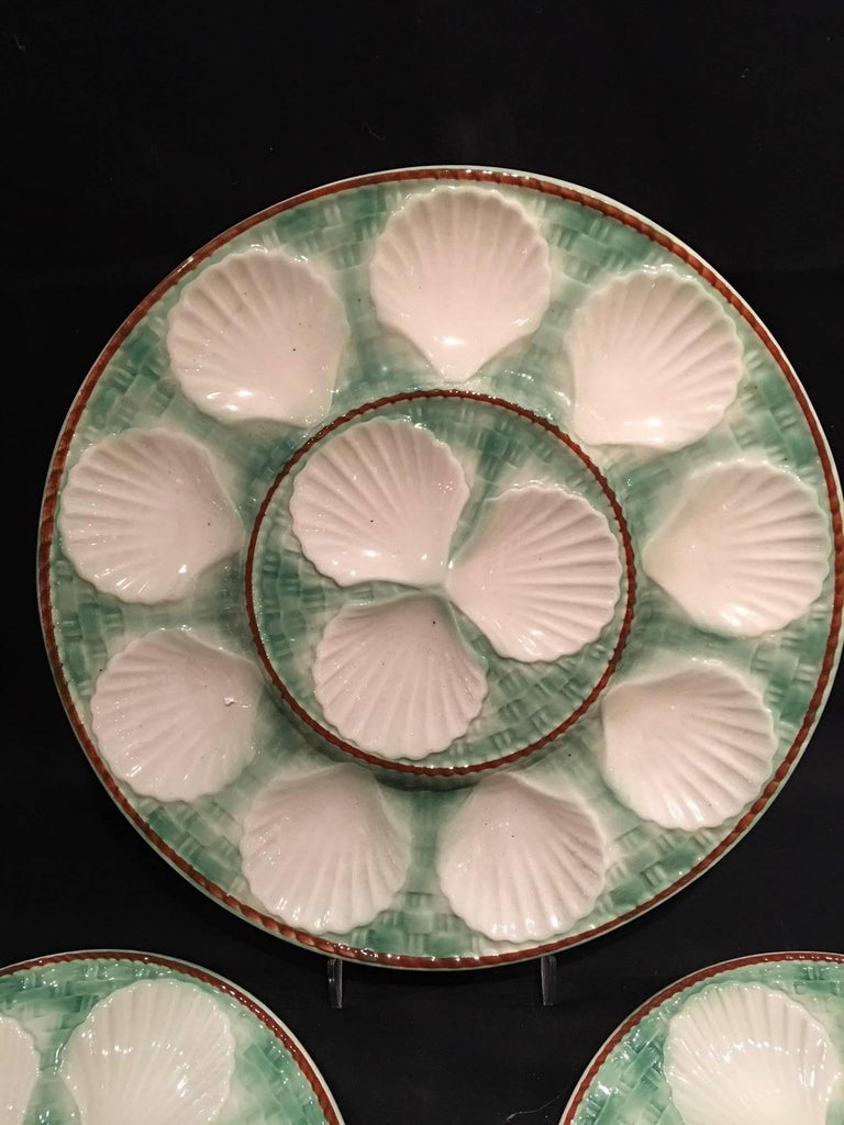 French Set of Majolica Long Champ Nine Oyster Plates and a Platter, 19th Century For Sale