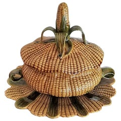 Set of Majolica Pottery Ceramic Corn Tureen Box with Tray Platter & Cover