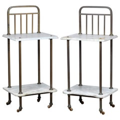 Set of Marble and Brass Nightstands, 1920s