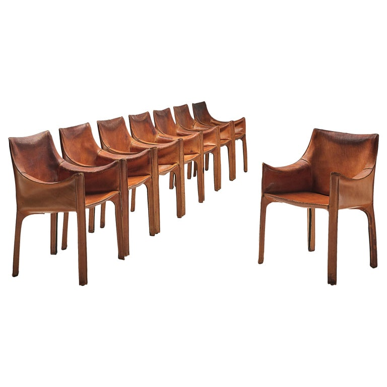 Mario Bellini for Cassina set of Cab chairs, 1979, offered by Morentz