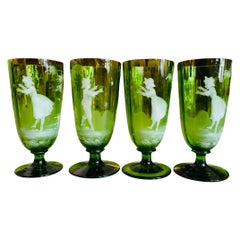 Set of Mary Gregory Hand Painted Emerald Green Glass Goblets