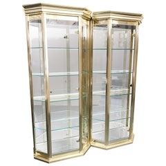 Set of Mastercraft Brass Vitrine / Display Cabinets