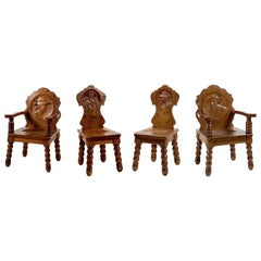 Set of Medallion Chairs and Armchairs, Austria, First Half of the 20th Century