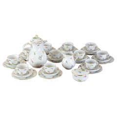 Set of Meissen Porcelain Coffee Set with Flower Decor
