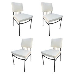 Set of Metal Dining Chairs by Arturo Pani with Brass Details