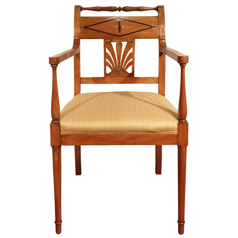An elegant set of eight mid 19th century Biedermeier cherry and ebony dining chairs. Each of the two armchairs and six side chairs is raised by circular front legs and square curved back legs. The armchairs with turned arms are below a straight