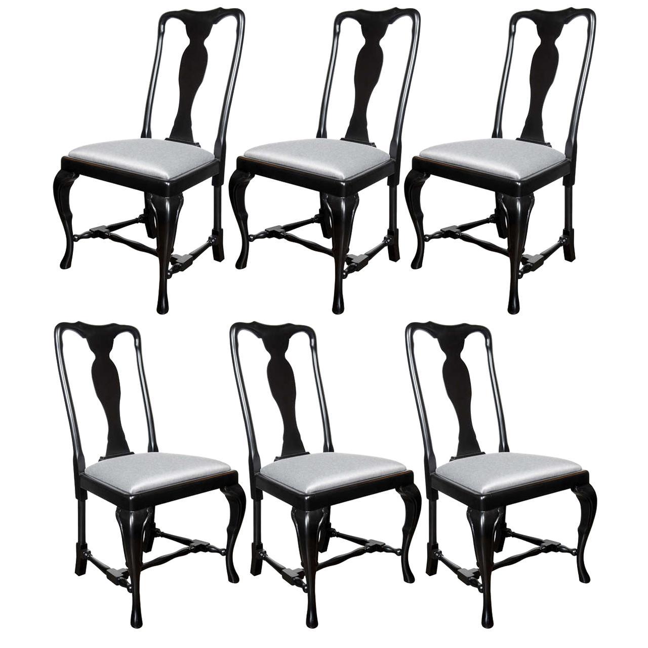 Set of Six French Art Deco Cabriole Ebonized Walnut Dining Chairs by Jansen