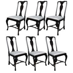 Set of Six French Art Deco Cabriole Ebonized Walnut Dining Chairs by Jansen