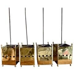 Set of Midcentury Four Frech Brass Lanterns or Pendants Maison Bagues Style