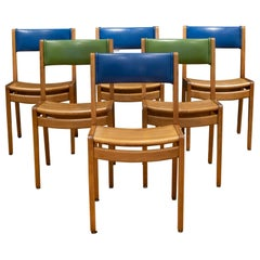 Set of Mid-Century Gunlocke Oak and Vinyl Library Chairs, c.1960