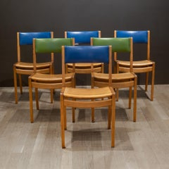 Set of Mid-century Gunlocke Oak and Vinyl Library Chairs c.1960