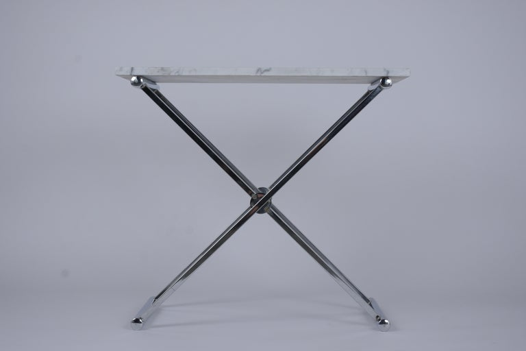 Plated Set of Mid-Century Modern Chrome Side Tables For Sale