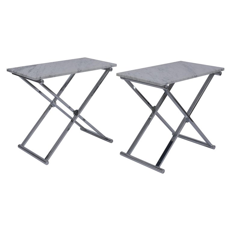 Set of Mid-Century Modern Chrome Side Tables For Sale