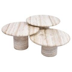Set of Mid-Century Modern Cream Travertine Round Pedestal Coffee Tables, 1970