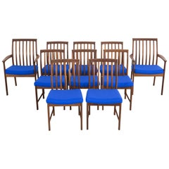 Set of Mid-Century Modern DUX Dining Chairs Reupholstered in Maharam Wool