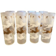 Set of Mid-Century Modern Frosted Horse High Ball Glasses - Set of 9