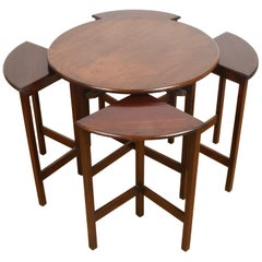 Set of Mid-Century Modern Mahogany Wood Italian Nesting Tables, 1970s
