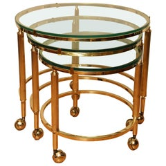 Set of Mid-Century Modern Round Brass Nesting Tables