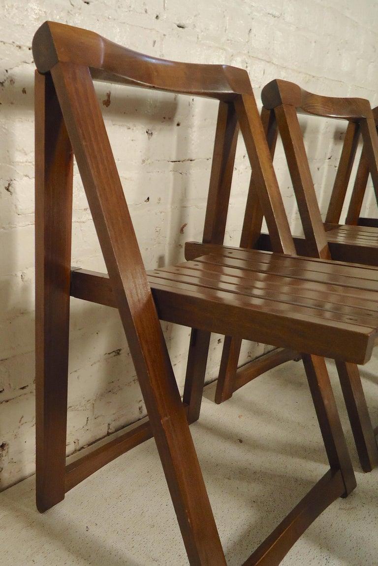 Walnut Set of Mid-Century Modern Slat Chairs